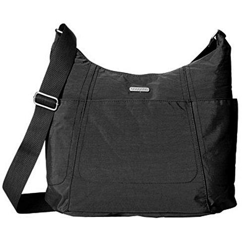 Baggallini Chic Hobo Tote borsa tasche funzionali di Crossbody BLACK WITH SAND LINING