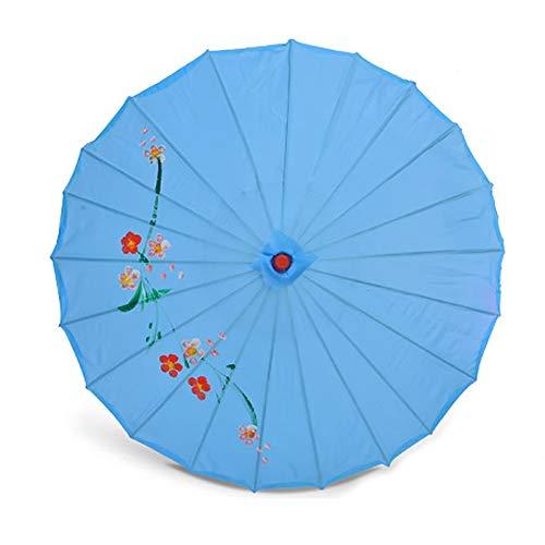 ZJPP Kostüm-Tanzen-Regenschirm, Tanz-Regenschirm, Handwerks-Regenschirm-Öl-Papierregenschirm-dekorativer Regenschirm, Klassische Blume,Blue