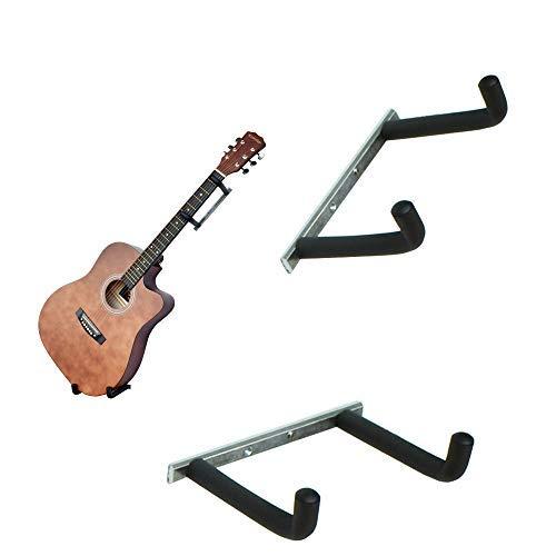 YYST Gitarrenwandhalter für elektrische und dünne Gitarren, Ukulele, Bass, Banjo in abgeschrägtem Winkel (horizontal) / seitlicher Aufhänger (kein Instrument)