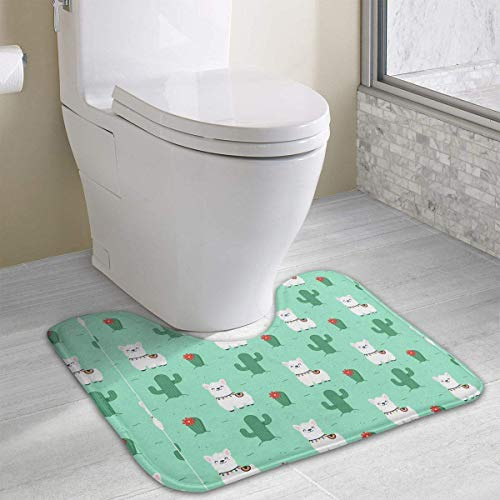 Hoklcvd Alpaca Flat Style Pattern Dirt Bike Motocross U-Shaped Toilet Floor Rug Non-Slip Toilet Carpets Shower Mat (Raben-fußmatten)
