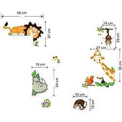 RETUROM Animal de la selva del bebé niños de guardería infantil Decoración mural de la pared de la etiqueta engomada