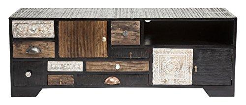 Kare Design TV Board Finca, Sideboard, mehrfarbige Kommode, Lowboard mit 9 Schubladen & 3 Türen, Dunkelbraun-Schwarz, (H/B/T) 45x125x40cm