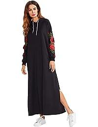 4d04e0867e85 ROMWE Damen Hoodie Kleid mit 3D Blumen Applikation Kapuze Locker Winter  Herbst Kleider
