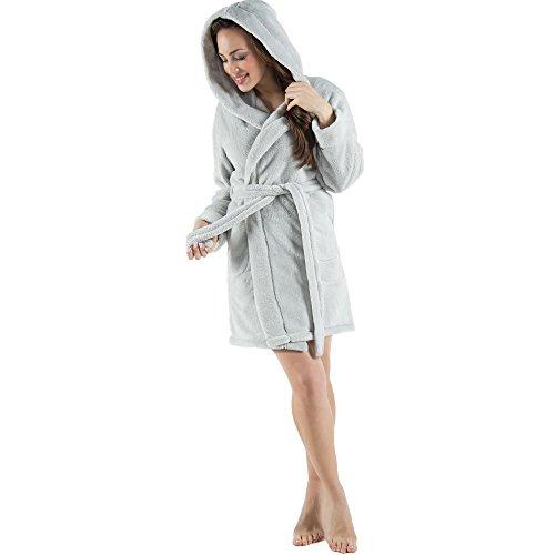 CelinaTex Damen Bademantel mit Kapuze, Flauschiger Sherpa-Fleece, Kurzer Saunamantel für Wellness Spa, 5000531, Trend Morgenmantel Serie Korfu M Grau