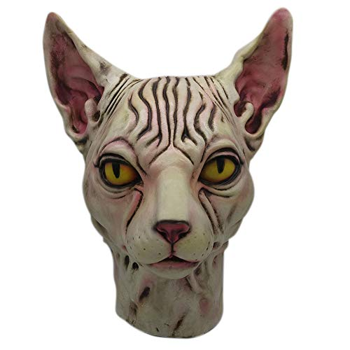 MMLC Full Head Latex Mask Hairless Cat Latex Horse Head Mask Costume Collectible Prop Scary Mask Toy (A)