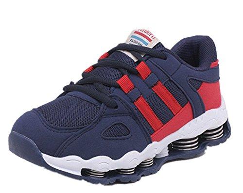 Wealsex Baskets Sneakers Basses Respirant Mesh Lacet Chaussures de Sport Running Compétition Entrainement Mixte Enfant Garçon Fille bleu foncé