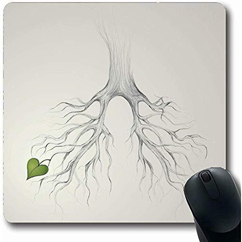 Mauspad,Gute Grüne Bleistift Baum Lungen Erde Realistische Handskizze Natur Herz Hoffnung Kreative Blatt Anatomie Rutschfeste Gaming-Mauspad Gummimatte, 22 *   18 Cm - Erde Zu Blättern