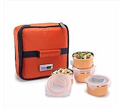Steel Lock Dual 2204 Steel Airtight Lunch pack, 200 ml, Orange, Set of 4