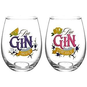 Gin Glas, 2 Gläser im Set. Bauchige Gingläser für Sommer und Gartenparty. Maße: Ø 9 cm, Höhe: 12 cm, 500 ml. Ideale Gläser für Gin-Tonic. Auch ideal als Geschenk für Gin-Liebhaber.