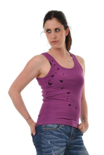 Tanktop Shirt Damenoberteil mit Aufdruck Elfe und Schmetterling von 3 Elfen Lila