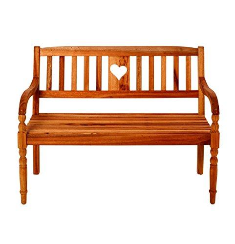 Miavilla Gartenbank Herz - 2-Sitzer Holzbank - Eukalyptusholz - ca. ca. B115 x T59 x H87 cm