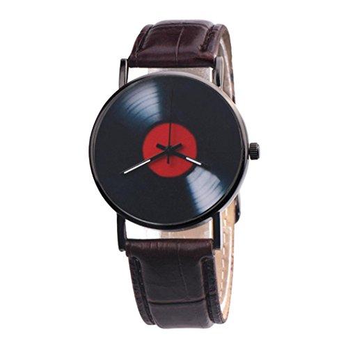 Sonnena Unisex Armbanduhren, Mode Casual Lederband Armbanduhren Klassik Retro Herrenuhr Damenuhr Design Band Uhren Edelstahl Analoge Quarz Handgelenk Uhr (Braun)