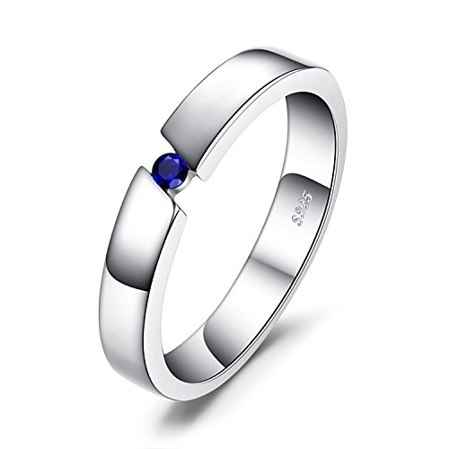 JewelryPalace 0.04ct Erstellt Sapphire Jubiläums-Solitaire Ring 929 Sterling Silber