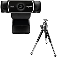 Logitech C922 Pro Stream Full HD Webcam with Mic and Adjustable Tripod (Works with Xbox One) - Black