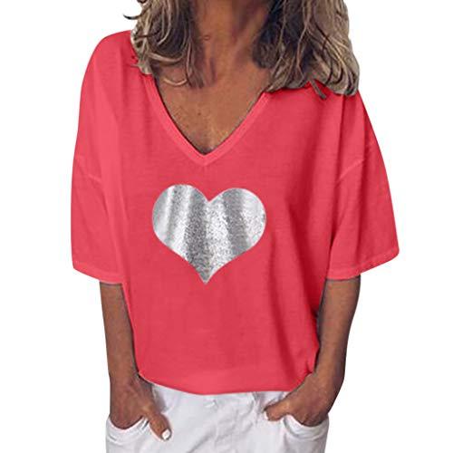 AG&Tfemme Chemise Grande Rond Tunique Tops T Shirt Blouse en Coton Style Imprim