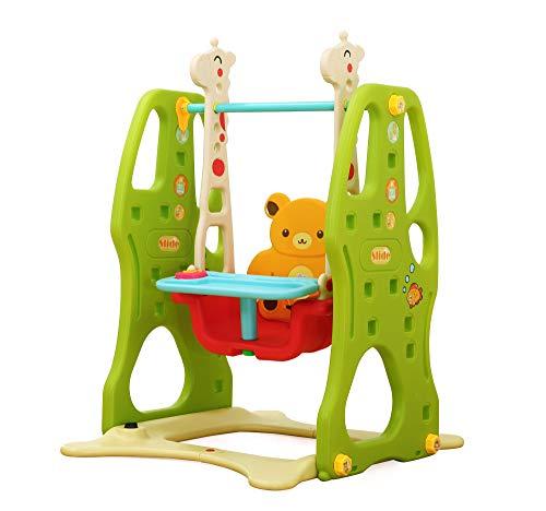 Clamaro \'Crazy Zoo\' Garten Schaukel mit Tablett für draußen und drinnen, Kinder Garten Schaukelsitz mit Gestell, Rückenlehne, Anschnallgurt und Rausfallschutz Bügel mit Tablett (entfernbar)