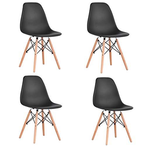 KunstDesign Set de 4 Sillas de Comedor, Diseño Ergonómico,Patas de Madera de Haya Natural...