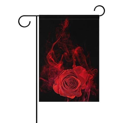 Gartenflagge Black Night Rose Smoke 30,5 x 45,7 cm Banner doppelseitig für Rasen Hof, Außendekoration, Polyester, Image 755, 28x40(in)