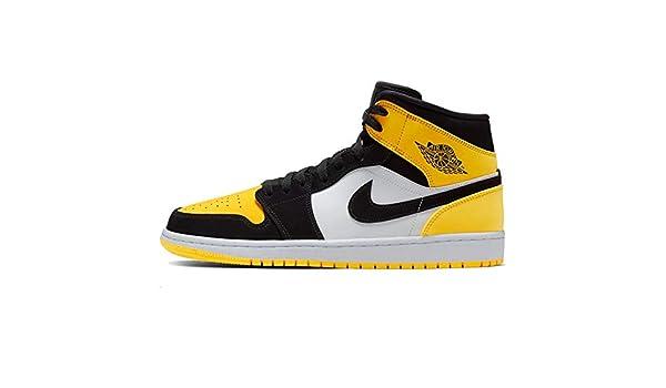 Nike Air Jordan 1 Mid Se, Jaune (Noir/Noir/Jaune/Blanc.), 51 ...