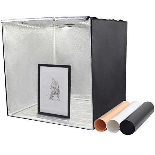 Professional LED Photography Light Box 60cm, with 2LED dimmable LED Light Panel (5500k) and 3 PVC Background Boards, no Flicker, Foldable Cube, Mini Portable Tent for Photo Studio and Products Portable Photo Studio Cube