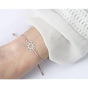 SCHOSCHON Damen Sonne Armband Rose-Nude 925 Silber rosevergoldet // personalisierbare Geschenke Weihnachten Charm Sun Schmuck Textilarmband Geschenkidee