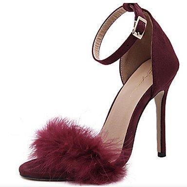 LvYuan Damen-Sandalen-Büro Kleid Lässig Party & Festivität-Wildleder-Stöckelabsatz-Fersenriemen Neuheit-Schwarz Rosa Rot Pink