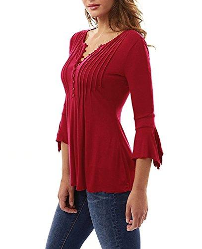 278e8e3eb81f02 Minetom Donna Casuale Elegante Maglietta Manica Tunica Bottone Camicia  Manica 3/4 a Foglia di Loto Scollo V Casual T-Shirt Tops Blusa Rosso IT 44