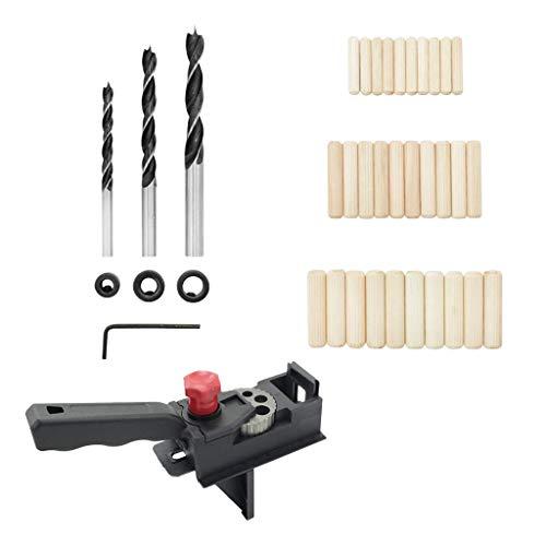 Fenteer 38 Stücke Punch Locator Bohrer Guide Vorlage \\u0026 Bohrer Holzdübel Set, Holzbearbeitung Bohren Dübel Werkzeuge Für Zimmerei
