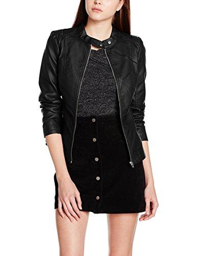 Vila CLOTHES Damen Jacke Viaya Faux Leather Jacket-Noos, Schwarz (Black Black), 42 (Herstellergröße: XL)