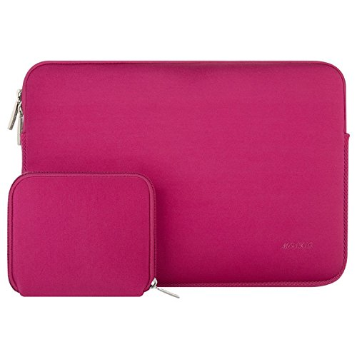 MOSISO Wasserabweisend Neopren Hülle Sleeve Tasche Kompatibel 13-13,3 Zoll MacBook Pro, MacBook Air, Notebook Computer Laptophülle Laptoptasche Notebooktasche mit Kleinen Fall, Rose Rot