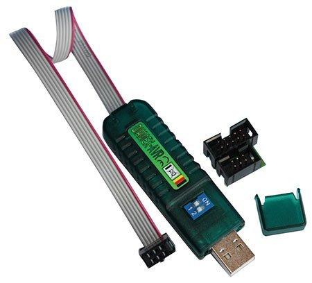 Diamex USB-ISP-Stick Programmer inkl. 6/10 Adapter und 10-pol. Flachbandkabel für Atmel AVR