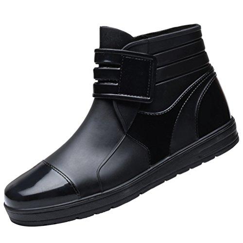 Xinwcang scarpe impermeabile martin boot per uomo,stivali da pioggia antiscivolo stivaletti da equitazione shorty boots nero asia 42