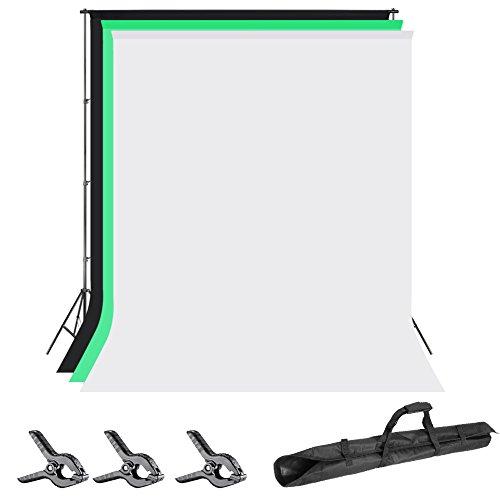 Neewer 2x2 Metros Soporte Fondo Sistema de Soporte con 1,8x2,8 Metros Telón de Fondo (Blanco/Negro/Verde) y Abrazaderas de Fondo para Fotografía Video Retrato Producto
