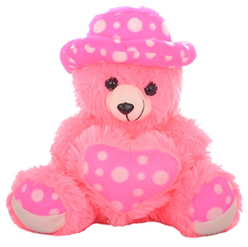 MEGADDICT Best & Cheap Big Cute & Cuddly Handmade Soft Plush Teddy Bear Toy wearing CAP & holding a HEART for Your Kids / Friends Birthday Gift or I Love You Valentine Gift / Anniversary Gift for Your Wife / Girlfriend - PINK - almost 1 feet / 11 inches / 28 cms.  available at amazon for Rs.300