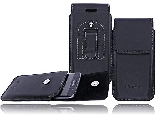 Burkley Vintage / Retro Look Leder Handy-Gürtel-Tasche für Apple iPhone 6 / 6S in 4,7 Zoll Schutz-Hülle Vertikal-Holster-Tasche mit Gürtel-Schlaufe und Clip in schwarz (Leder Gürtel-tasche)