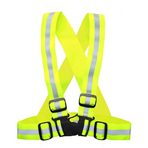 HQRP Gilet réfléchissant pour le sûr jogging, course, cyclisme, mototourisme, promenade du chien - Neon Jaune, élastique et facilement réglable