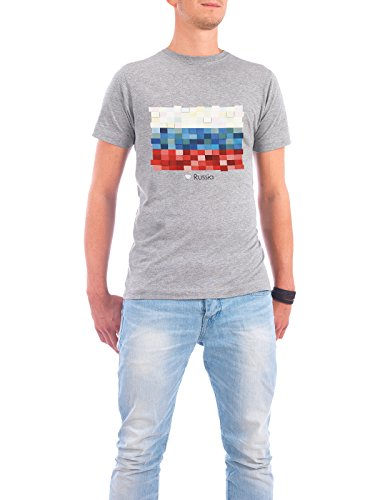 """Design T-Shirt Männer Continental Cotton """"Russia Flag"""" - stylisches Shirt Reise Reise / Länder von GREENGREENDREAMS Grau"""