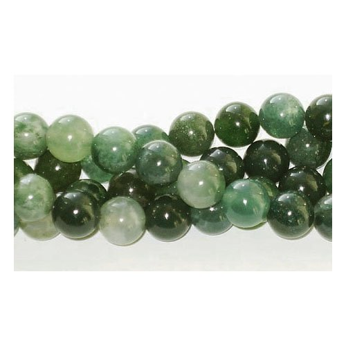 Charming beads filo 60+ verde agata muschiata 6mm tondo liscio perline - (gs1646-2)