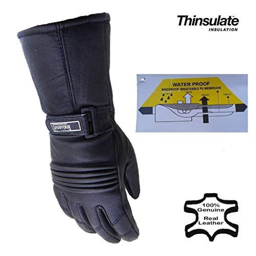 Bikers Gear UK Guantes de Moto en Cuero e Thinsulate, Impermeables e térmicos, Hombre Color Negro Talla XS