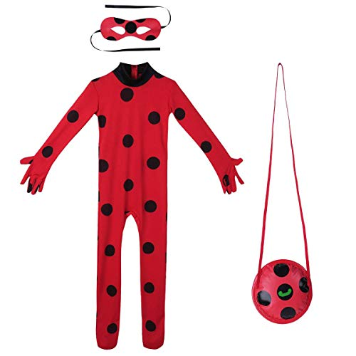 URAQT Ladybug Mädchen Marienkäfer Kostüm Kinder Halloween Karneval Marinette Overall Party Cosplay 3er Set - Jumpsuit, Augenmaske (Halloween Kostüm-für Kinder)