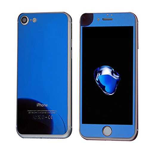 """""""Apple iPhone 7"""" Tempered Glass Electroplated Mirror Finish Metal Effect Blue Colored By NETBOON® Glossy Brushed Front & Back Gorilla Glass For iPhone 7"""