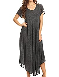 Sakkas Lila Freckled Dyed Cap Sleeve Scoopneck Long Caftan Dress/Cover Up