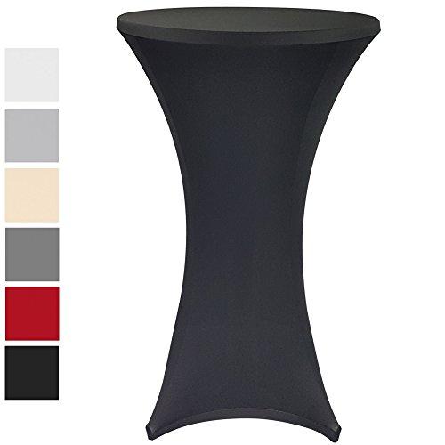 PROHEIM Stehtischhusse Stretch Elastique - elastische Premium Stretchhusse für gängige Bistrotische und Stehtische - dehnbarer Tisch-Überzug mit Ökotex100, Farbe:Schwarz, Größe:Ø 70-75 cm
