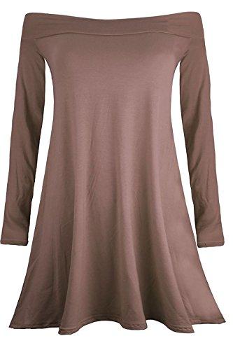 Islander Fashions Womens manches longues hors paule Swing Skater robe dames plaine Bardot vas Top S / XXL Moka