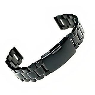 Pixnor 22mm gerade Ende massiv Edelstahl Armband Band Armband (schwarz)