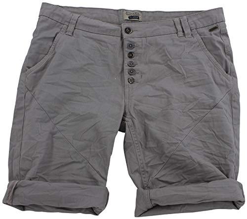 STS Damen Jeans Bermuda Short by Boyfriend Look tiefer Schritt Jeansbermuda mit Kontrastnähten Washed (S, Hell Grau) -
