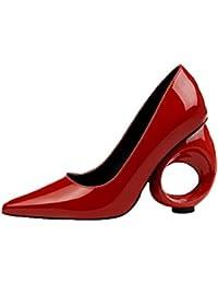 YWNC Damen Rau High Heels Party Prom Durchbrochene 10 CM Lackleder Flacher Mund Spitzschuh Einzelne Schuhe 2018...