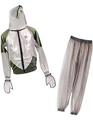MagiDeal Combinaison Anti Moustiques Insecte Veste à Capuche Pantalon Vêtements Gants Protection pour Pêche Randonnée Camping