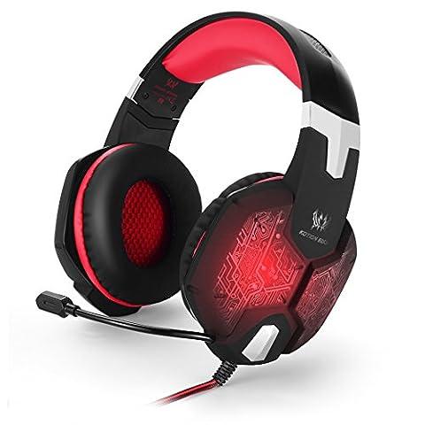 kotion je G1000Haarband 3,5mm Bass Stereo Gaming Headset Over-Ear PC-Spiel Kopfhörer mit Mikrofon Colorful Atmen LED Licht für Laptop Computer Schwarz-rot