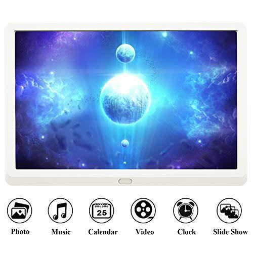 Digitaler Bilderrahmen HD 10 Zoll Full-IPS-Display Elektronischer Bilderrahmen Musik/Video-Player Kalender Wecker automatischer EIN-/Ausschalt mit Fernbedienung, Weiß